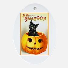 Jackolantern Black Cat Oval Ornament
