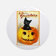 Jackolantern Black Cat Ornament (Round)