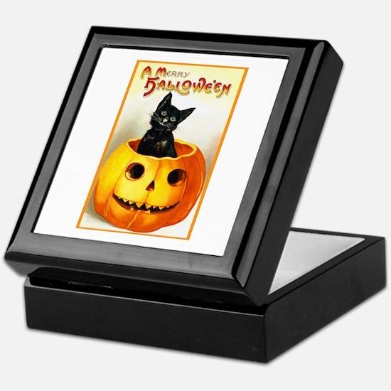 Jackolantern Black Cat Keepsake Box