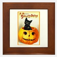 Jackolantern Black Cat Framed Tile
