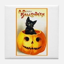 Jackolantern Black Cat Tile Coaster