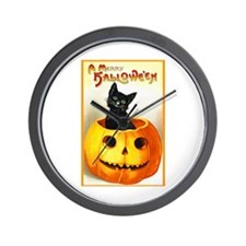 Jackolantern Black Cat Wall Clock