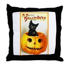 Jackolantern Black Cat Throw Pillow