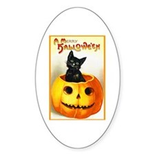 Jackolantern Black Cat Oval Decal