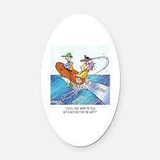 Fishing Cartoon 2716 Oval Car Magnet