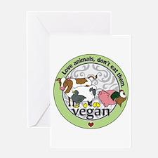 Love Animals Dont Eat Them Vegan Greeting Card