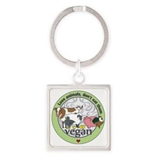 Love Animals Dont Eat Them Vegan Square Keychain