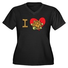 I heart turtles Women's Plus Size V-Neck Dark T-Sh