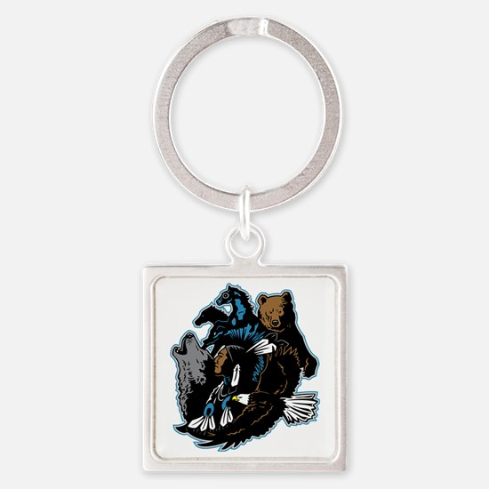 Native American Indian and Wildlif Square Keychain