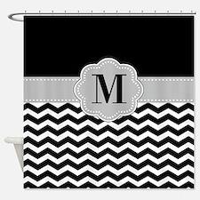 Black Gray Chevron Monogram Shower Curtain
