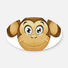 monkey emoji Oval Car Magnet