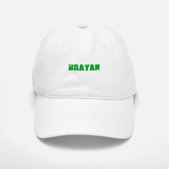 Brayan Name Weathered Green Design Baseball Baseball Cap