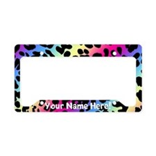 Rainbow Leopard Animal Print License Plate Holder