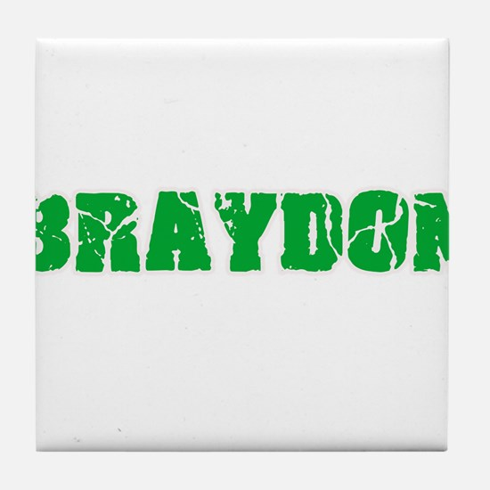 Braydon Name Weathered Green Design Tile Coaster