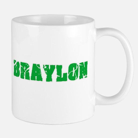 Braylon Name Weathered Green Design Mugs