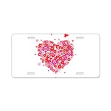 Valentines Day Flowers Aluminum License Plate