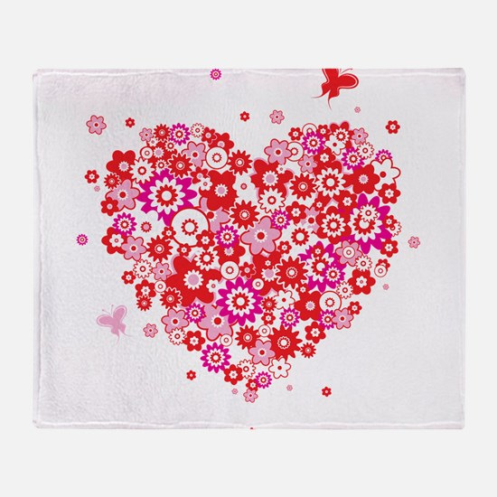 Valentines Day Flowers Throw Blanket