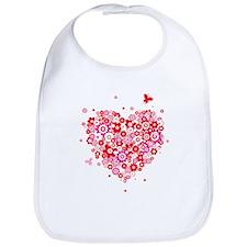 Valentines Day Flowers Bib