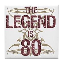 Men's Funny 80th Birthday Tile Coaster