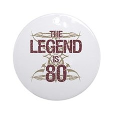 Men's Funny 80th Birthday Round Ornament
