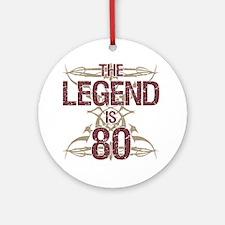 Men's Funny 80th Birthday Round Ornament