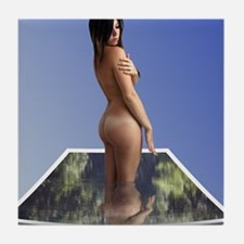 Nude Brunette Rising From Water Photo Tile Coaster