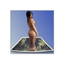 Nude Brunette Rising From Water Photo Card Sticker