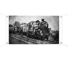 rustic vintage steam train Banner
