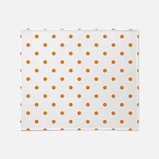 Orange: Polka Dots Pattern (Small) Throw Blanket