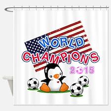 Soccer Penguin Shower Curtain