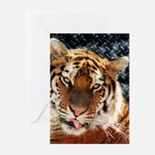 modern grunge cool tiger Greeting Cards