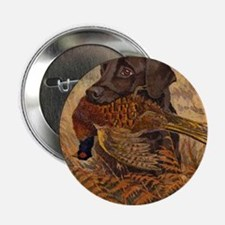 "Vintage Chocolate Lab Hunting 2.25"" Button"