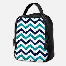 Teal, White & Navy Blue Chevron Neoprene Lunch Bag
