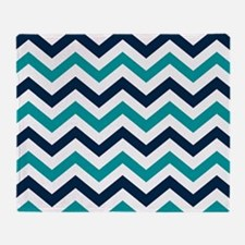 Teal, White & Navy Blue Chevron Patt Throw Blanket