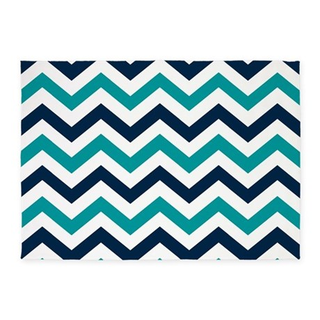Teal, White U0026 Navy Blue Chevron Pat 5u0027x7u0027Area Rug
