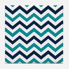 Teal, White & Navy Blue Chevron Patte Tile Coaster
