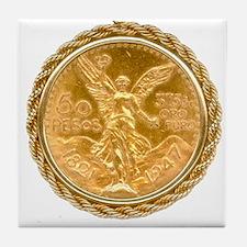 Mexican Oro Puro w/bezel on Tile Coaster