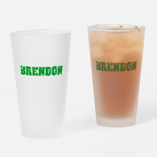 Brendon Name Weathered Green Design Drinking Glass