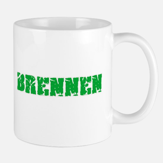 Brennen Name Weathered Green Design Mugs