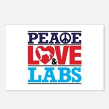 Peace Love And Labs Postcards (package Of 8)