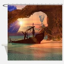 Shipwreck in the sunset Shower Curtain