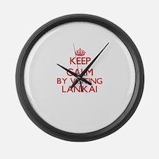 Keep calm by visiting Lanikai Haw Large Wall Clock