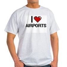 I Love Airports Digitial Design T-Shirt