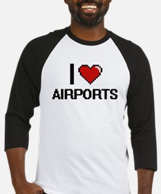 I Love Airports Digitial Design Baseball Jersey