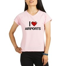 I Love Airports Digitial D Performance Dry T-Shirt
