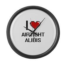 I Love Airtight Alibis Digitial D Large Wall Clock