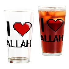 I Love Allah Digitial Design Drinking Glass