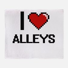 I Love Alleys Digitial Design Throw Blanket