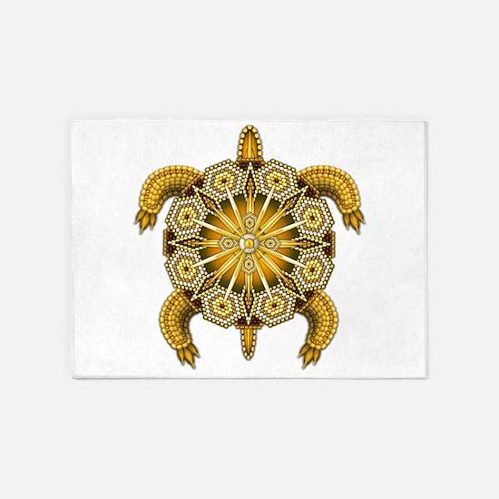 Yellow Native American Beadwork Tur 5'x7'Area Rug