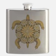 Yellow Native American Beadwork Turtle Flask